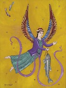 Reverse Art Painting Posters - Persian Angel Raphael Poster by Sue Betanzos