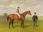 Horse Racing Painting Prints - Persimmon Winner of the 1896 Derby Print by Emil Adam