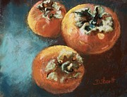 Donna Shortt Painting Posters - Persimmons Poster by Donna Shortt