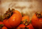 Persimmon Framed Prints - Persimmons Framed Print by Karen  Burns