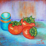 Persimmons Prints - Persimmons on Blue Print by LizTa Gallery