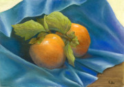 Pastel Prints - Persimmons on Blue Print by Martha J Davies