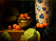 Realistic Paintings - Persimmons by Timothy Jones