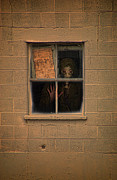 Hiding Metal Prints - Person in Gas Mask Looking out Window Metal Print by Jill Battaglia