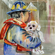 Oversized Painting Originals - Personality Number Thirteen-Dedicated to the Rescue workers from Hurricane SANDY by Carol Scavotto