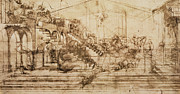 Horse Drawings - Perspective Study for the Background of the Adoration of the Magi by Leonardo da Vinci