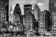 New York City Skyline Framed Prints - Perspectives BW Framed Print by JC Findley