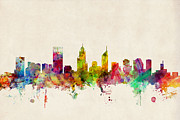 Skylines Digital Art Posters - Perth Australia Skyline Poster by Michael Tompsett