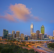 Perth Framed Prints - Perth Skyline at Twilight Western Australia Square Framed Print by Colin and Linda McKie