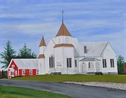 Red School House Paintings - Peru Congregational Church by Sally Rice