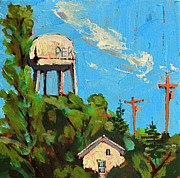 Small Towns Painting Metal Prints - Peru Water Tower on 9th Metal Print by Charlie Spear