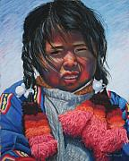 Floating Girl Pastels Posters - Peruvian Lake Dweller Poster by Marion Derrett
