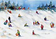 Winter Fun Painting Metal Prints - Pest Hill Metal Print by Pat Katz