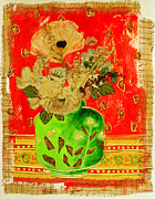 Table Cloth Mixed Media Metal Prints - Petals and Leaves Metal Print by Diane Fine