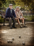 Sitting  Digital Art Posters - Petanque Match / Brive la Gaillarde Poster by Barry O Carroll