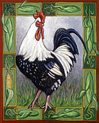 Rooster Metal Prints - Pete the Rooster Metal Print by Linda Mears