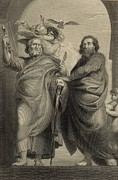 Christ Drawings - Peter and Paul 1886 Engraving by Antique Engravings