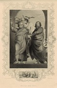 Paul Drawings - Peter and Paul 1886 Engraving with border by Antique Engravings