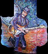 Keith Richards Painting Originals - Peter Parcek Plays The Blues by Jason Gluskin