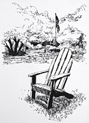 Chair Drawings Framed Prints - Peter Strauss Ranch Chair  Framed Print by Robert Birkenes