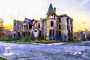 The Haunted House Mixed Media Prints - Peterboro Castle Ruins Print by Priya Ghose