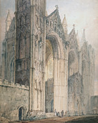English Watercolor Paintings - Peterborough Cathedral by Thomas Girtin