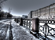 Element Drawings - Peterburg streets winter by Yury Bashkin