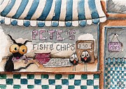 Chips Paintings - Petes Fish and Chips by Lucia Stewart