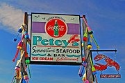 Lobster Sign Posters - Peteys Seafood Poster by Joann Vitali