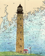 New England Lighthouse Paintings - Petit Manan Island Lighthouse ME Nautical Chart Map Art by Cathy Peek