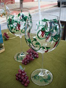 Hand Painted Glasses Glass Art - Petite Grapes on Glass by Sarah Grangier
