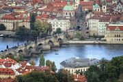 Charles Bridge Photo Framed Prints - Petrin View Framed Print by Joan Carroll