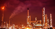 Gas Tower Prints - Petrochemical oil refinery plant  Print by Anek Suwannaphoom