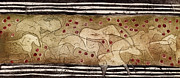 Cave Drawings Prints - Petroglyph - Ensemble of Red Dots and Short Strokes - Prehistoric Art - The plains - Prarie Country Print by Urft Valley Art