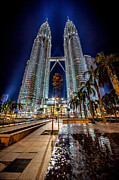 Nightshot Framed Prints - Petronas Twin Towers Framed Print by Adrian Evans