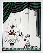 White Russian Painting Posters - Petroushka Poster by Georges Barbier