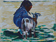 Young Love Painting Originals - Petting Zoo by Charles M Williams