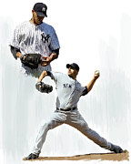 Yankees Drawings Framed Prints - Pettitte  Andy Pettitte Framed Print by Iconic Images Art Gallery David Pucciarelli