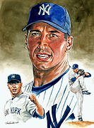 Baseball Painting Framed Prints - Pettitte Framed Print by Tom Hedderich