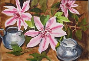 Pewter Paintings - Pewter and Pinks by Johanna Engel