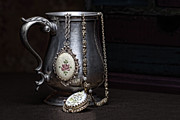 Chain Necklace Art - Pewter Cup Still Life by Tom Mc Nemar