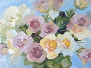 Pewter Jug Prints - Pewter Pink and Yellow Roses.  A close-up study. Print by Elinor Fletcher