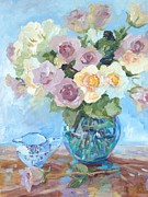 Pewter Jug Prints - Pewter Pink Roses in Murano Vase Print by Elinor Fletcher