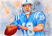 Quarterback Paintings - Peyton by Erik Schutzman