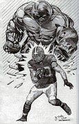 Pro Football Drawings Posters - Peyton Hillis Poster by Jonathan Tooley
