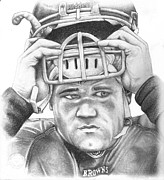 Arkansas Razorbacks Drawings Prints - Peyton Hillis Print by Mike Shaw