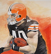 Browns Pastels Posters - Peyton Hillis Poster by Ryan Doray