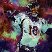 Broncos Digital Art Posters - Peyton Manning Abstract 1 Poster by David G Paul