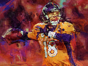 Broncos Digital Art Posters - Peyton Manning Abstract 2 Poster by David G Paul