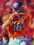 Broncos Digital Art Posters - Peyton Manning Abstract 3 Poster by David G Paul